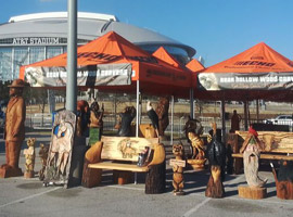 Benches and Chainsaw Carvings AT&T Stadium
