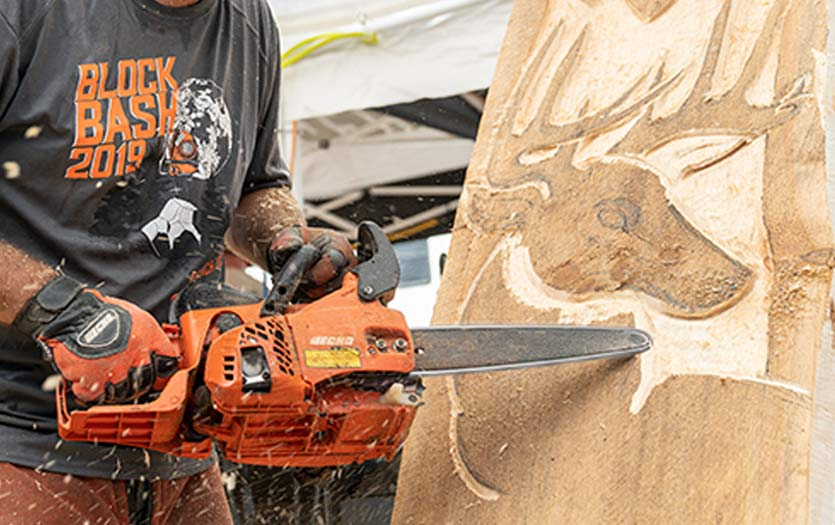 Echo Chainsaw Carving a Log
